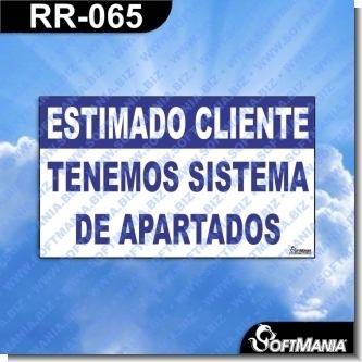 Lee el articulo completo Rotulo Prefabricado - ESTIMADO CLIENTE CONTAMOS CON SISTEMA DE APARTADOS