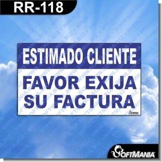 Lee el articulo completo Rotulo Prefabricado - ESTIMADO CLIENTE FAVOR EXIJA SU FACTURA
